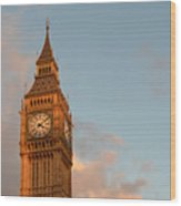 Big Ben Tower With Blue Sky And Some Clouds Wood Print