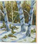 Big Birches In Winter Wood Print