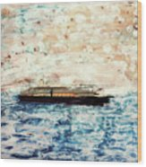 Big Black Ship Wood Print