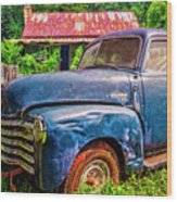 Big Blue Chevy At The Farm Wood Print