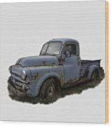 Big Blue Dodge Alone Wood Print