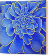 Big Blue Flower Wood Print by Geoff Greene