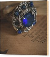 Big Blue Ornamented Ring Wood Print