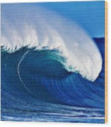 Big Blue Wave Wood Print