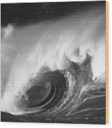 Big Breaking Wave - Bw Wood Print
