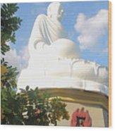 Big Buddha Statue At The Long Son Pagoda In Nha Trang Vietnam Wood Print