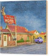 Big Bunny Motel Wood Print by Juli Scalzi