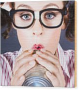 Big Business Kid Making Phone Call With Tin Cans Wood Print
