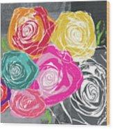 Big Colorful Roses 2- Art By Linda Woods Wood Print