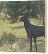 Big Deer Wood Print