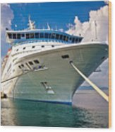 Big Docked Cruise Ship View Wood Print