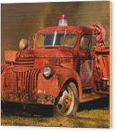 Big Fire - Old Fire Truck Wood Print