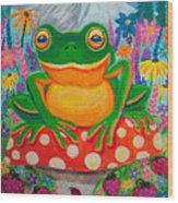 Big Green Frog On Red Mushroom Wood Print