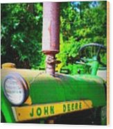 Big Green Tractor Wood Print