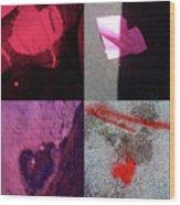 Big Hearts Pink Red Purple Wood Print