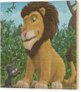 Big Lion Small Cat Wood Print