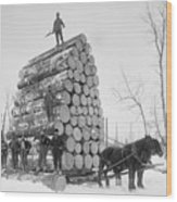 Big Load Of Logs On A Horse Drawn Sled Wood Print by Everett