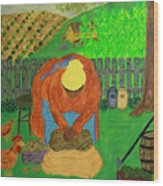 Big Mama Sorting Potatoes Wood Print