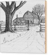 Big Oak Dairy Farm Wood Print