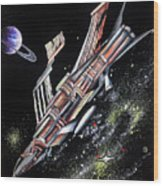 Big, Old Space Shuttle Of Dead Civilization Wood Print