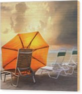 Big Orange Beach Umbrella Watercolor Painting Wood Print