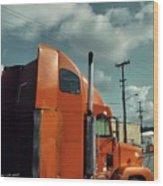 Big Orange Truck Wood Print