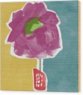 Big Purple Flower In A Small Vase- Art By Linda Woods Wood Print