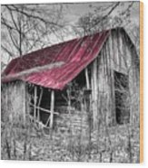 Big Red Wood Print by Debra and Dave Vanderlaan
