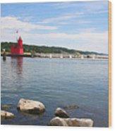 Big Red Light On The Lake Wood Print