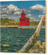 Big Red Lighthouse In Michigan Wood Print