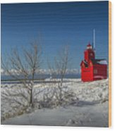 Big Red Lighthouse In Winter Wood Print