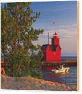 Big Red Lighthouse Wood Print