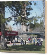 Big Red Wagon In Riverfront Park Wood Print