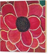 Big Red Zinnia Flower Wood Print