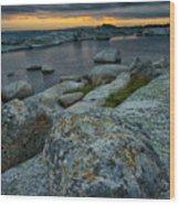 Big Rocks And Storm Clouds Wood Print