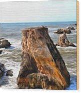 Big Rocks In Grey Water Painting Wood Print