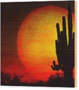 Big Saguaro Sunset Wood Print