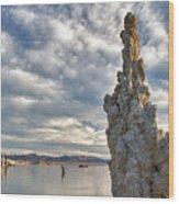 Big Sky And Tufa, Mono Lake, California Wood Print