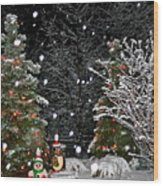Big Snow Flakes    Holiday Card 6 Wood Print