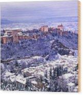 Big Snow In The Alhambra Granada  Wood Print