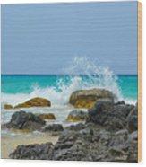 Big Splash On Rocks Of Playa Brava Wood Print