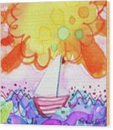 Big Sun And Sailboat Wood Print