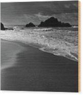 Big Sur Black And White Wood Print