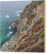 Big Sur Colorful Sea Cliffs Wood Print