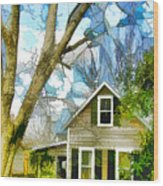 Big Tree Standing Tall In The Front Yard Wood Print