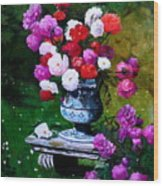 Big Vase With Peonies Wood Print