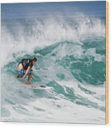 Big Wave Surfer At La Perouse Bay Maui Wood Print