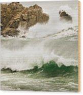 Big Waves Comin In Wood Print