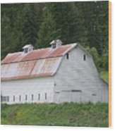 Big White Old Barn With Rusty Roof  Washington State Wood Print