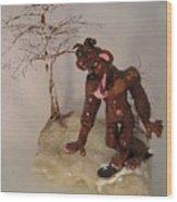 Bigfoot On Crystal Wood Print by Judy Byington